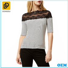 Designer Newest Half Sleeve Off The Shoulder Asymmetric Raw-cut Hem Charcoal Stripe Lace Trim Tee Shirt