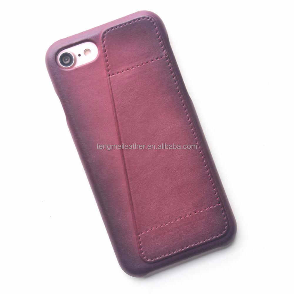 leather phone case for iPhone 8 case leather two tone purple, supports wireless charging (Qi), slim-fit wallet case