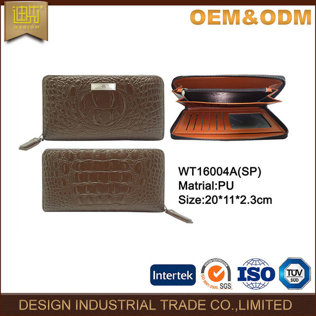 Custom logo Pu leather men women unisex passport travel branded long money wallet 2017 fashion designer wallet manufacture
