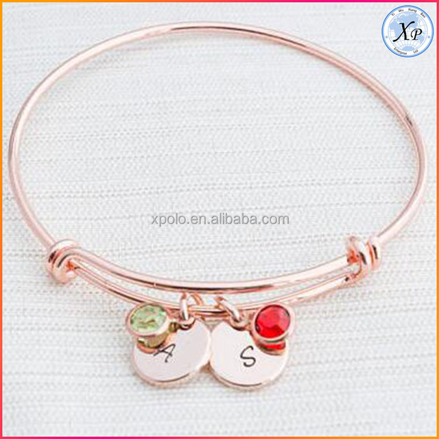 Fashion Stainless steel plated Initial & Birthstone bangle bracelet rose gold jewelry