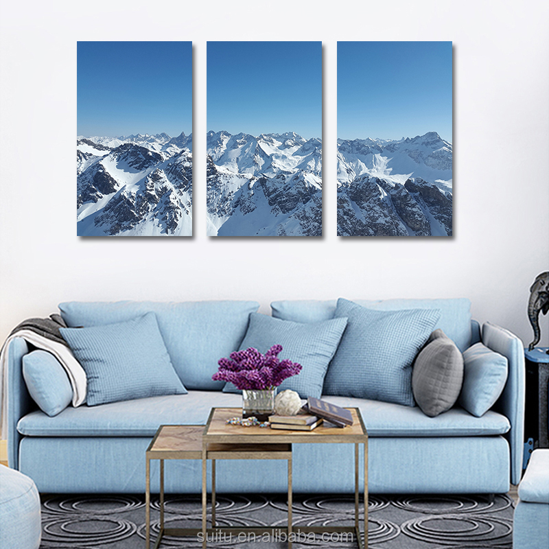 Chinese Factory Price Snow Mountain 3 Panels Beautiful Scenery Wall Painting Artwork For Home Decor Living Room