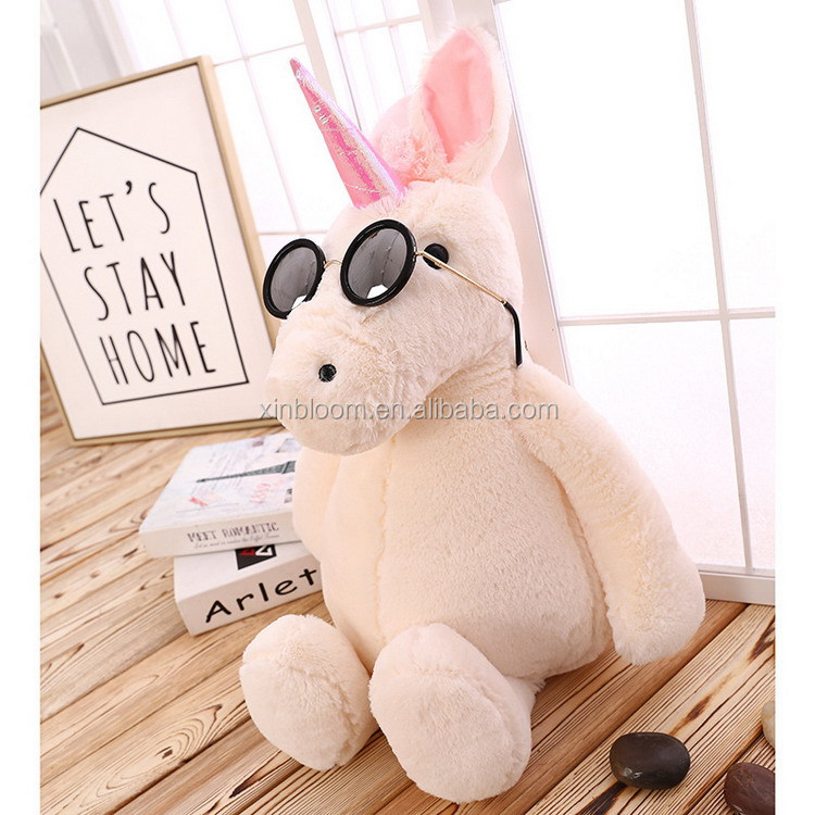 creamy white horse style pusheen unicorn soft stuffed plush kids gift toy doll with pink ear