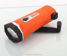 3 LED Hand Crank Dynamo diving Flashlight / torch with phone charger