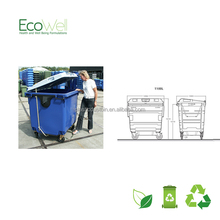 Flat Lid 4 Wheels Industrial Skip Bin