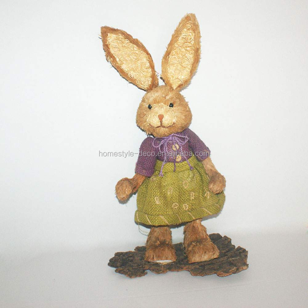 Easter decoration sisal standing rabbit natural easter rabbit in dress