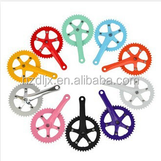 colorful aluminum alloy bicycle chainwheel and crank for fixie bicycle