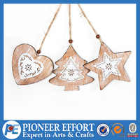 Wooden Christmas Tree, Heart and Star Hanging Ornament