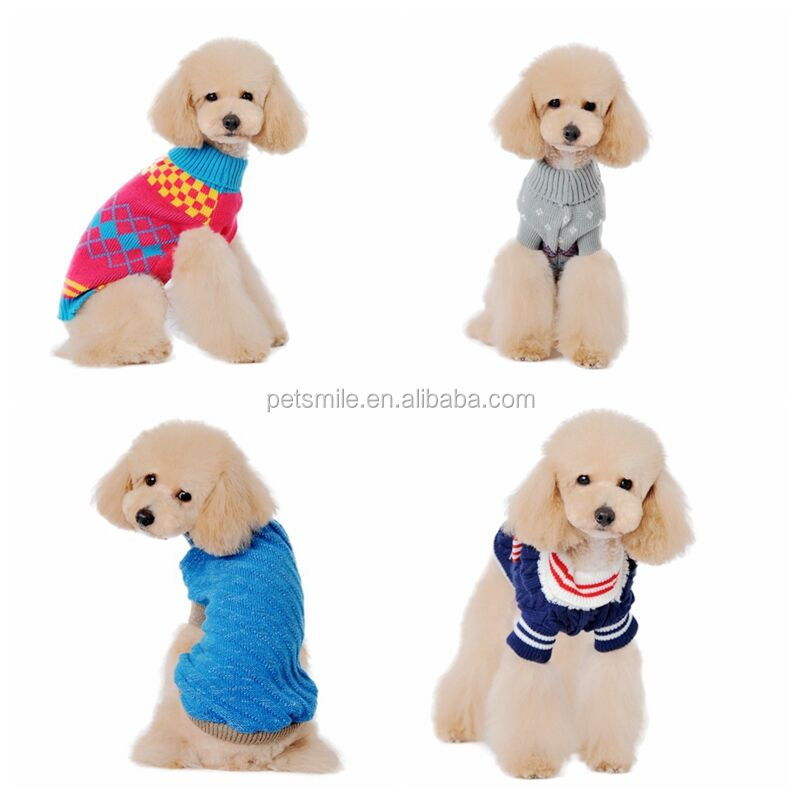2016 hot sale customized size and pattern knit dog sweater