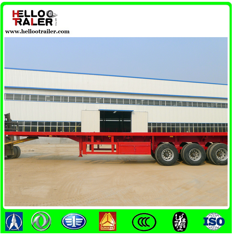 factory price tri-axle 60 ton 40ft container flatbed truck semi trailer