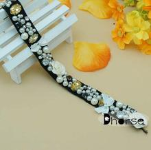 Hot sell fancy handmade embroidered beaded floral trim/ embroidered beaded border DH-BT1313