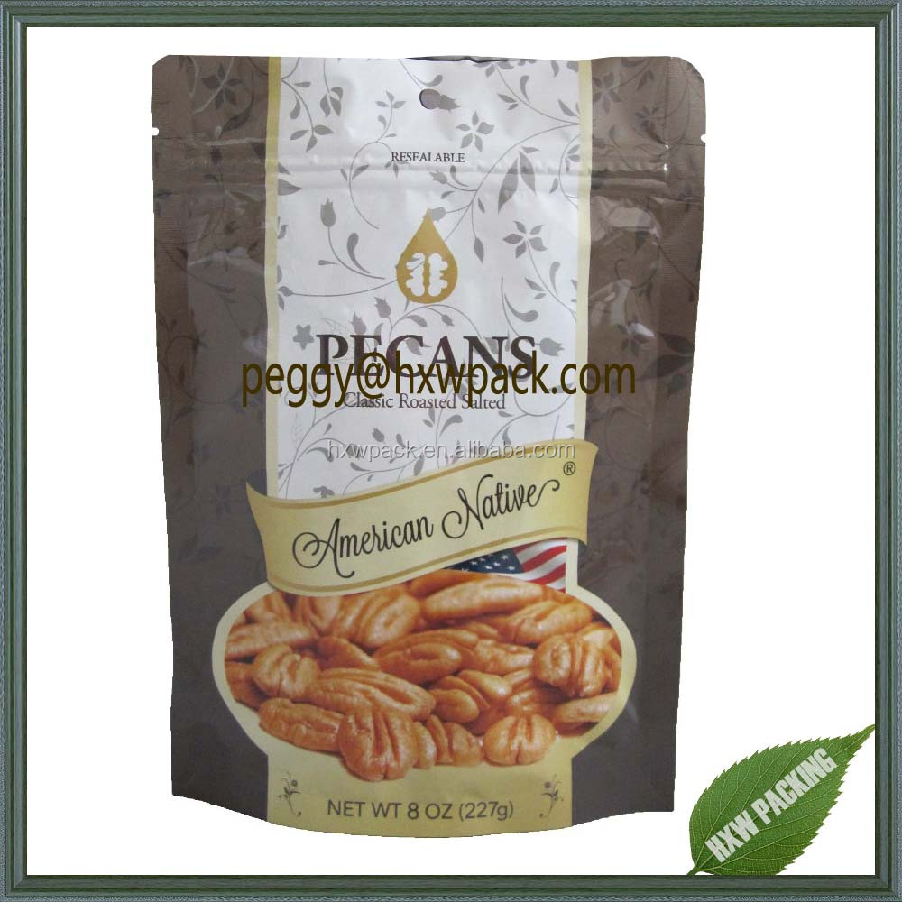High quality aluminum foil metalized stand up ziplock food bag for pecans nuts packaging