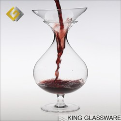 Custom unique design OEM handmade glass wholesale stemed funnel wine decanter glass made in Shanxi China