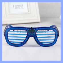 Blue LED Slotted Light Up Shutter Shades Party Dance Glasses