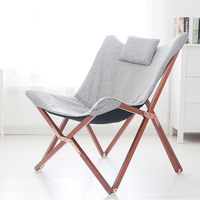 Wood Frame With Grey Cover Folding Butterfly Chair