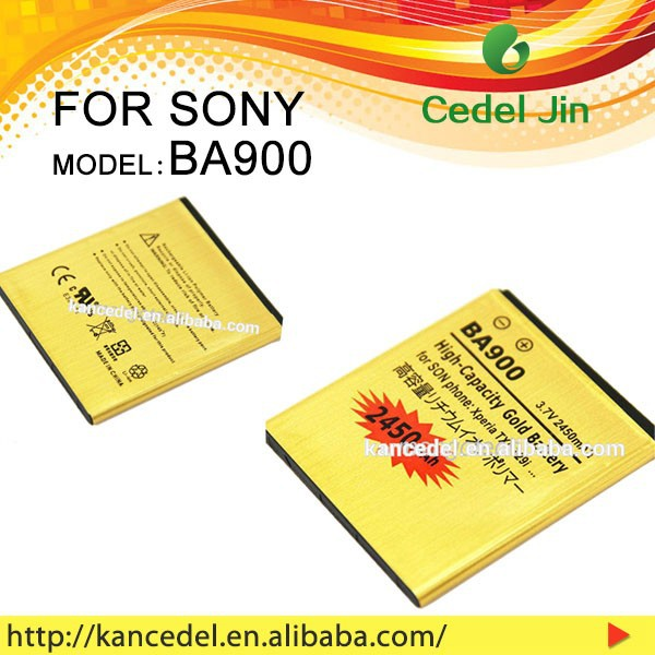 High quality replacement 2450mah high capacity gold mobile phone BA900 battery for sony ST26i/S36h/LT29i