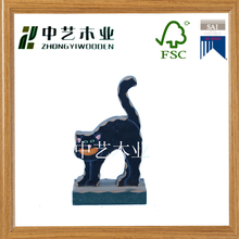 Wooden factory custom handmade black painting carved wooden cat toys craft