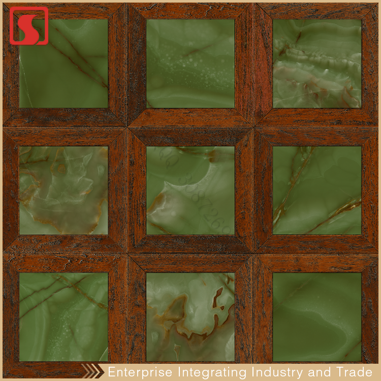 Green Ceramic 30X30 Size Floor Tile With Antique Window Style