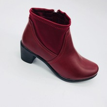 Lookfoot pu with elastic shoes women boots high quality women shoes women heel for ankle