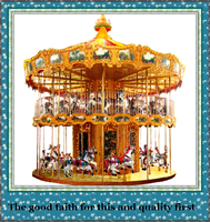 2016 theme park game outdoor christmas toy carousel machine horse double deck carousel