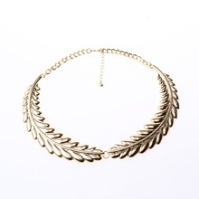Gold Jewellry leaf shape necklet wholesale fashion accessories