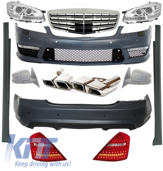 Complete Facelift AMG Body Kit W221 S-Class 2005-2009 Bumper Headlights Exhaust Tips Amg Facelift Mirrors