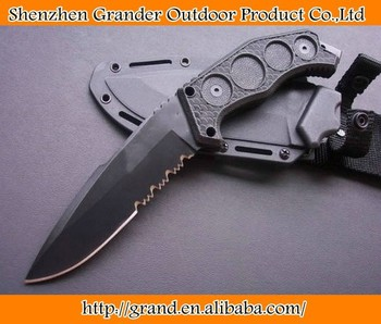 440C 58HRC black stainless steel blade fiber glass blade bowie knife fixed blade knife tool hand K sheath 0226