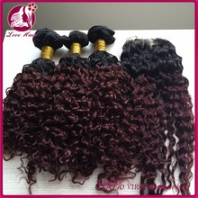 7A Unprocessed Cambodian Virgin Hair 2 tone ombre 1b 99j Kinky Curly 3 Bundles Human Hair Weaves with lace closure