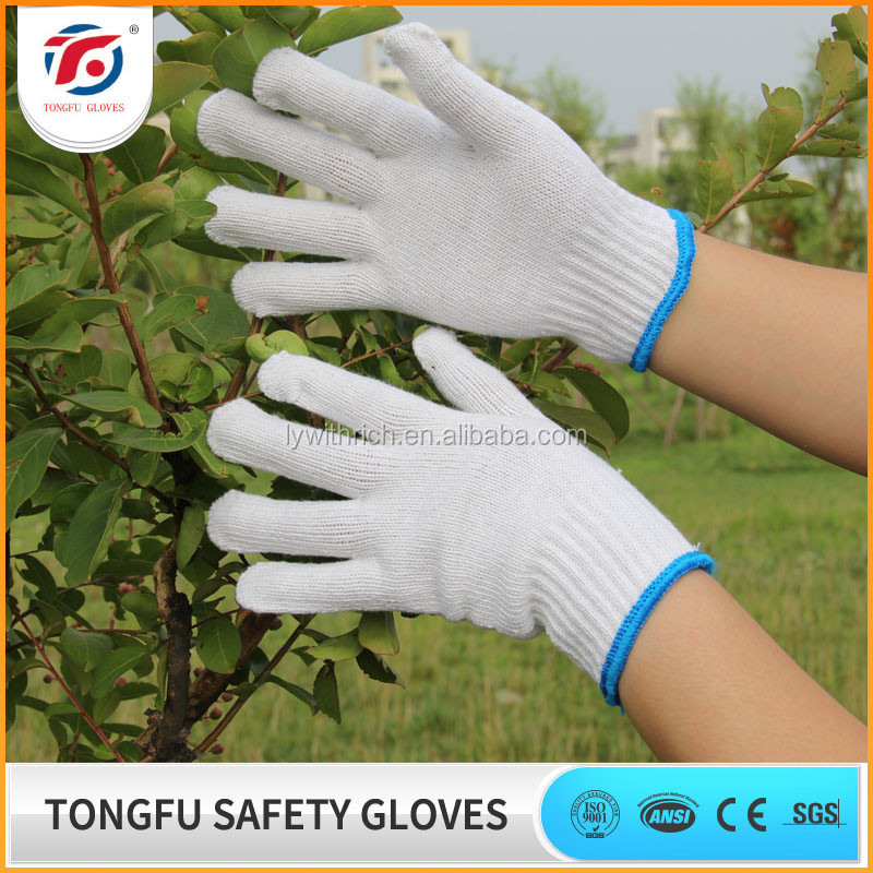 China supplier white 10gauge cotton Knitted safety gloves EN388