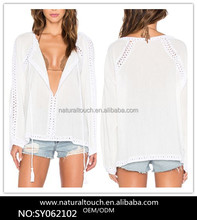 Sexy Lace Design Long Sleeve Plunging Neckline Boho White Blouse For Women(SY030818)