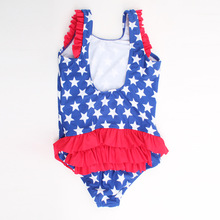 Wholesale top grade pentagram print 2 to 6 years old baby swimsuit