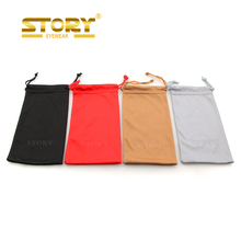 STORY Print LOGO Cheap Promotional Microfiber soft Sunglass pouch Eyeglasses pouch