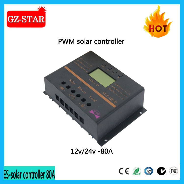 80A PWM LCD duo battery Solar Charge Controller 12V 24V