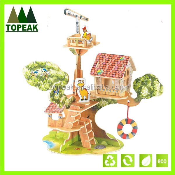 ECO-friendly children DIY castle architecture high quality wooden 3d puzzle