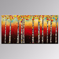 Birch Tree Oil Painting Forest Canvas Paintings Autumn Landscape Wall Art