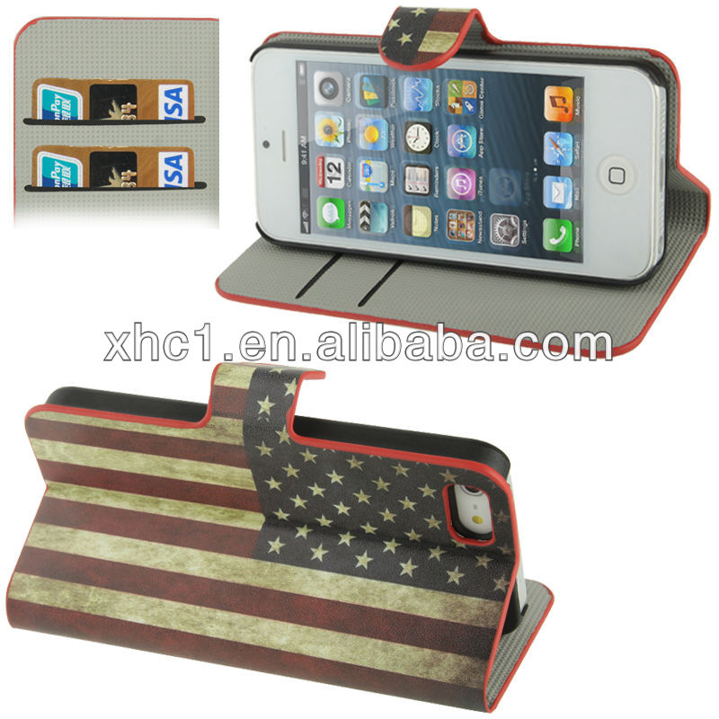Retro USA Flag Pattern Horizontal Flip Leather Case with Credit Card Slot