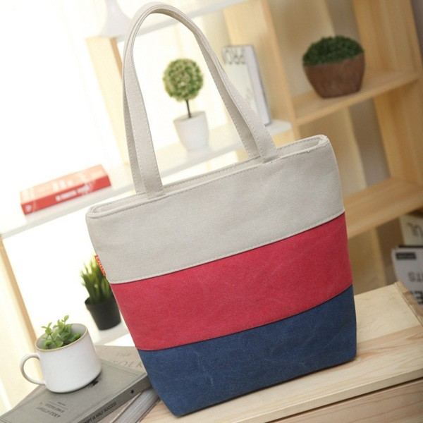 Fashion Female Canvas Beach Bag stripe Casual Tote Women Canvas Handbag Daily Use Single Shoulder Shopping Bags