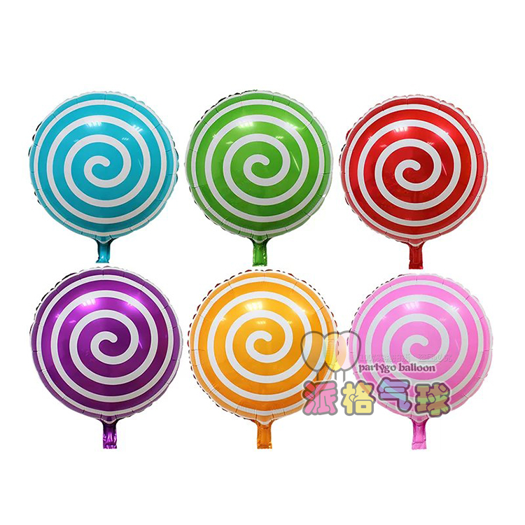 18inch mix color circular lollipop foil balloon for kids birthday party