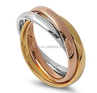 3MM Stainless Steel Tri color Gold, Rose, Silver Tone Interlocked Rolling Band Ring