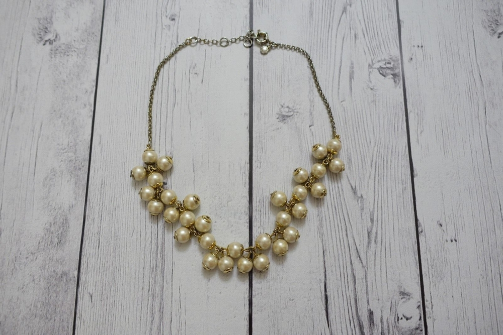 wholesale silver and gold chain beige pearls gold casual necklace