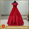 ASAP-10 Spaghetti Straps Short Sleeves Floor Length Ball Gown with Bows Red Evening Dresses