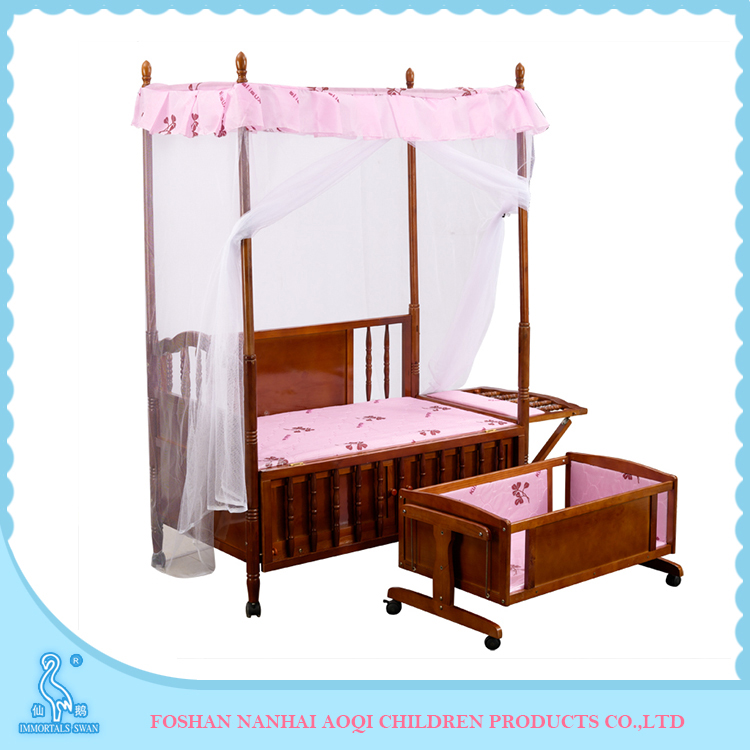 Original Wood Color Crib Adult Baby Room Furniture With Mosquito Net