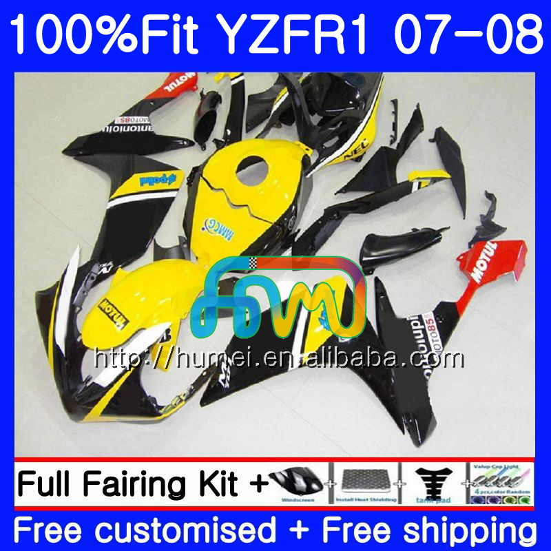 Injection Body For YAMAHA YZF <strong>R1</strong> 07 08 YZF-<strong>R1</strong> 2007 <strong>2008</strong> Yellow black 90HM52 YZF1000 YZFR1 YZF-1000 YZF 1000 R 1 07 08 <strong>Fairings</strong>