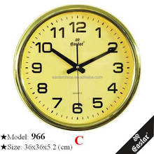 14 inches 36cm wall clock with golden dial