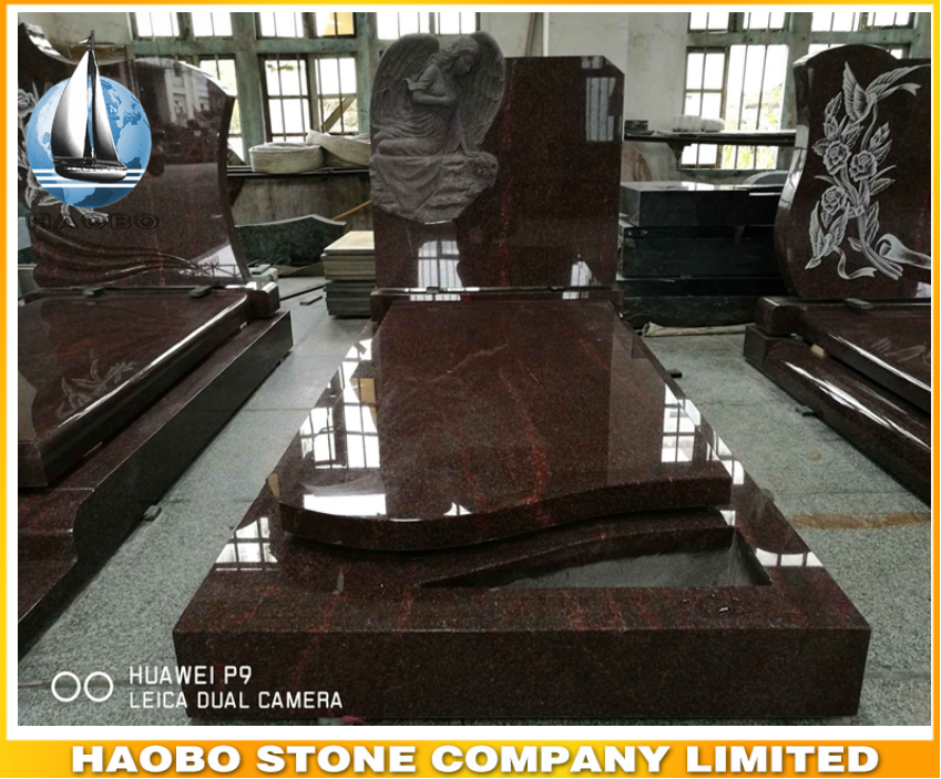 Customize price India Red Granite Weeping angel etching gravestone,headstone sign for cemetery bench,Cheap large tombstone price