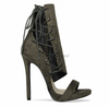 Khaki Suede Lace Up Italian Fashion
