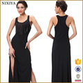 tank sleeve with fringes long dress sides slit chinese clothing online shop