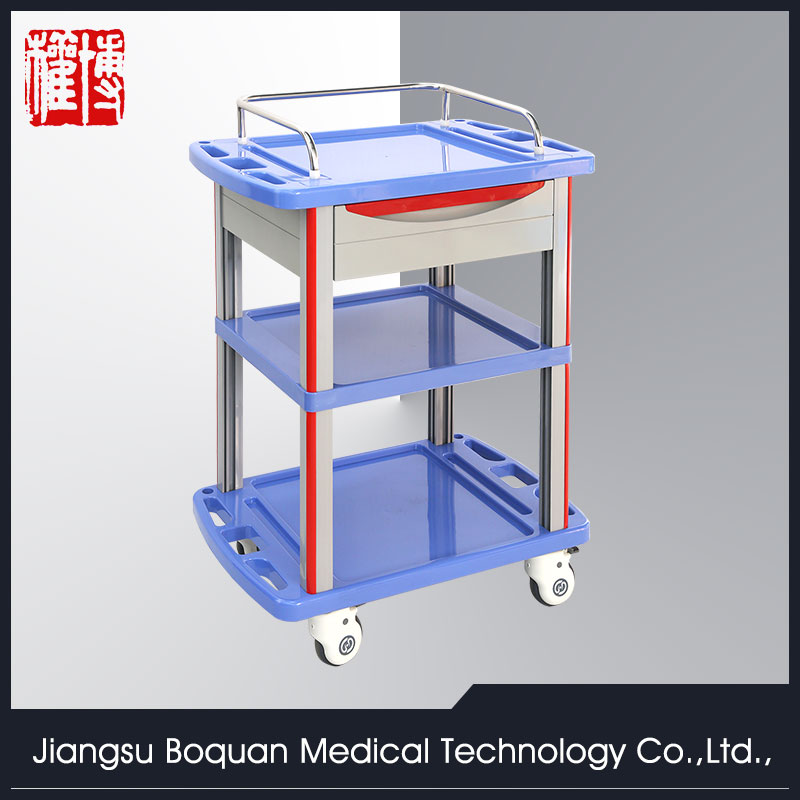 multi-function one drawer plastic-steel columns ABS medicine trolley