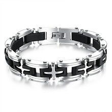 Marlary Punk Rock Black And Silver Stainless Steel Motorcycle Bicycle Chain Link Wrist Bracelet Accessories Bracelet