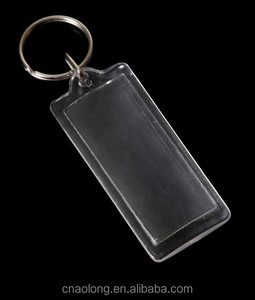 various shapes custom logo blank hard plastic keyring/clear transparent acrylic photo keychain with paper card