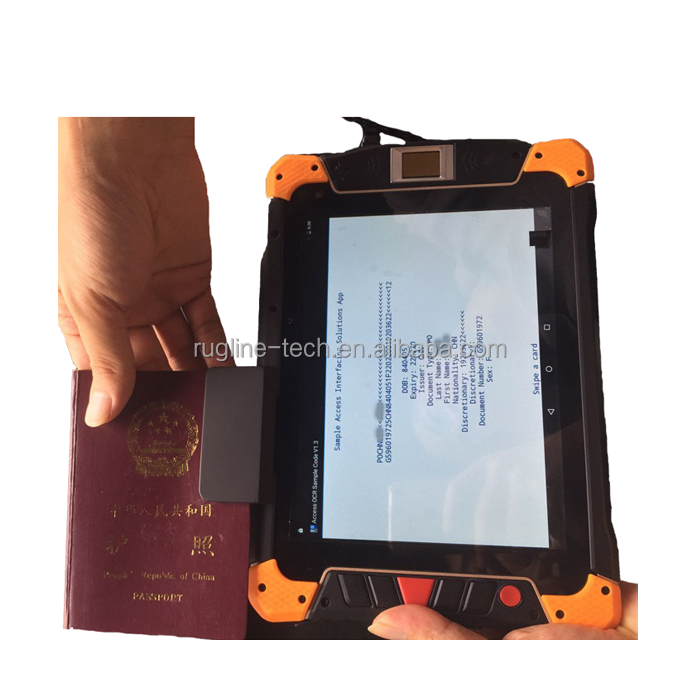 8 inch rugged waterproof outdoor industrial tablet PC 4G android pda passport reader mrz ocr scanner